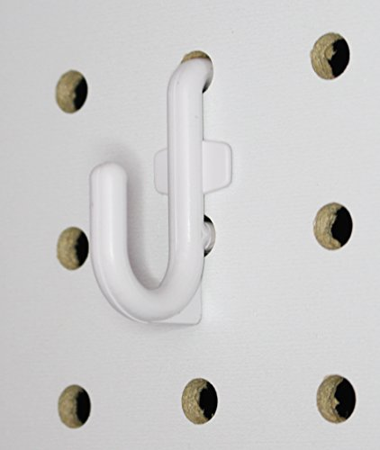 White Peg Board Hook Kit Garage Tool Storage Pegboard 50 pieces J Hook Style