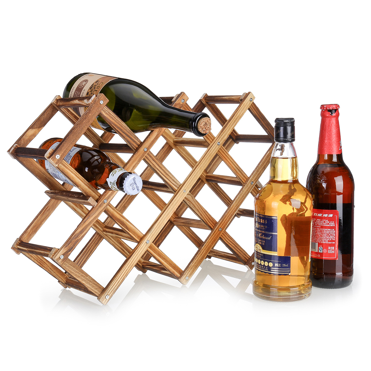 foldable wooden wine rack small wine holder storage table free standing wine rack for countertop home decor kitchen organizer carbonized wood color