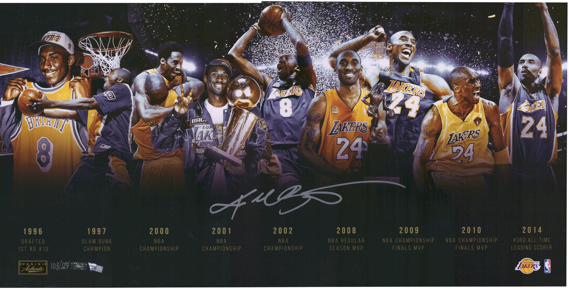 kobe bryant los angeles lakers autographed 16 x 32 timeline photograph limited edition of 124 panini authentic fanatics authentic certified