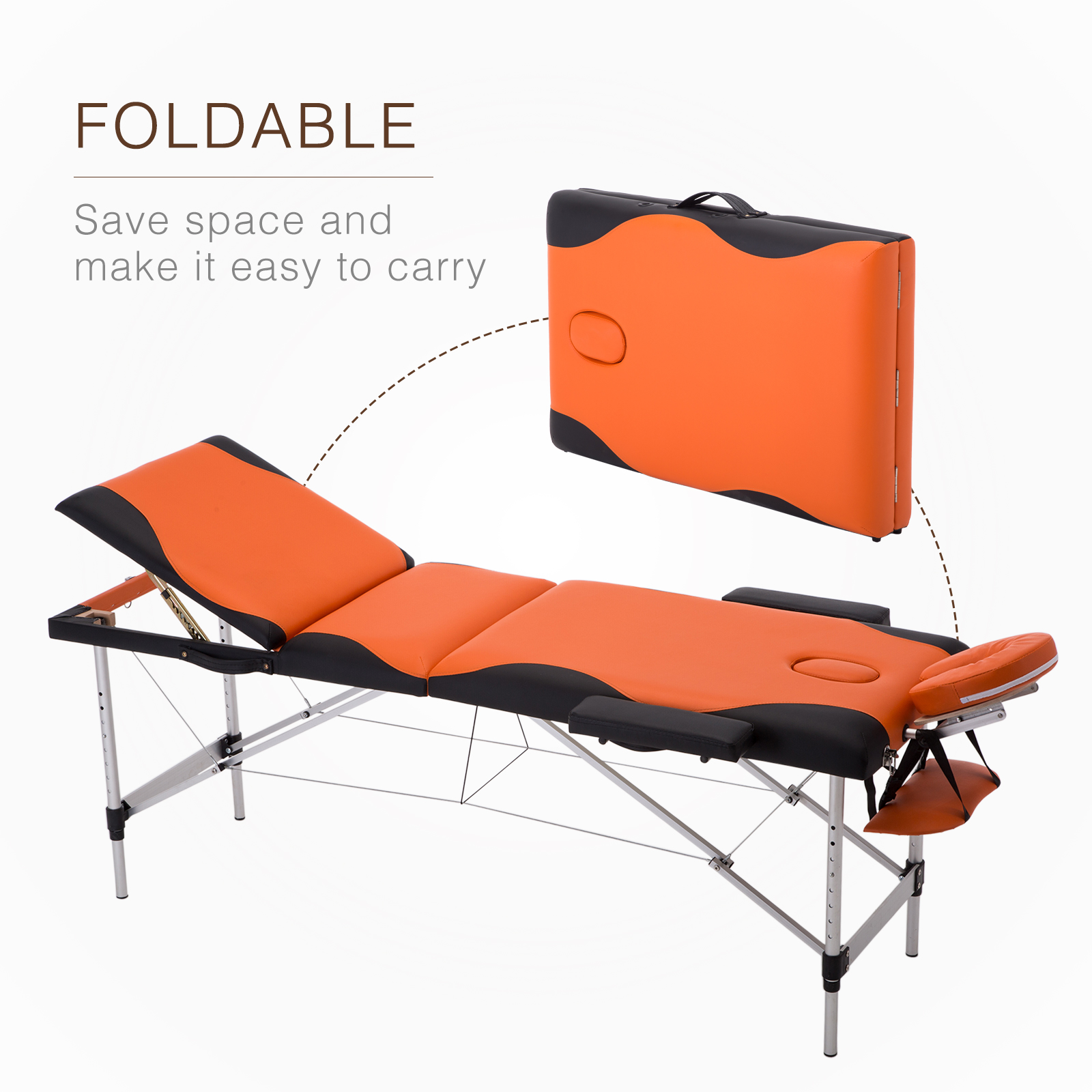 mecor portable massage table 3 fold facial spa bed w free carry case aluminum walmart com