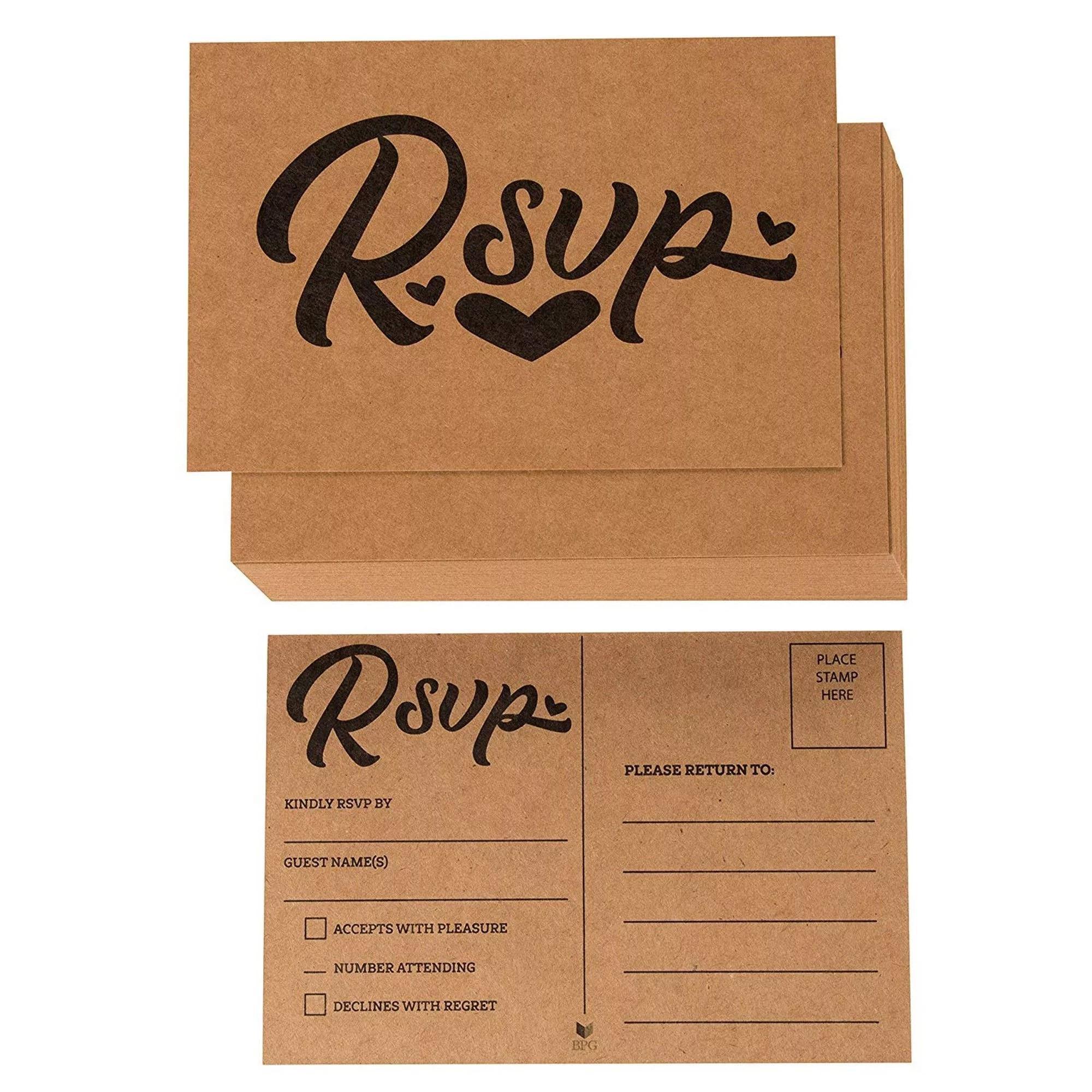 rsvp cards 60 pack kraft rvsp