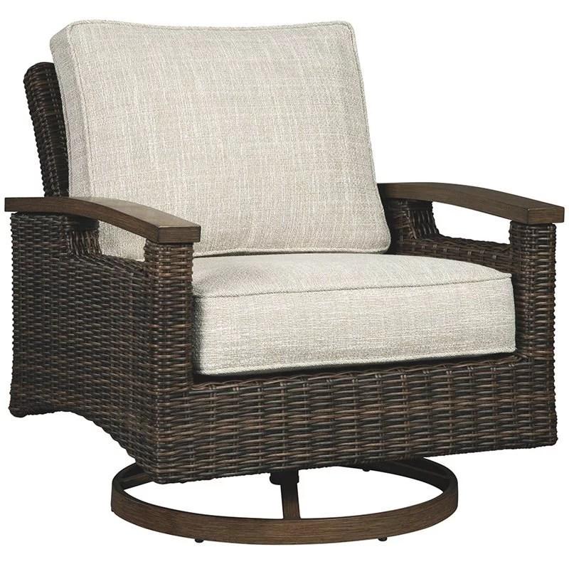 ashley furniture paradise trail swivel patio arm chair in brown set of 2 walmart com