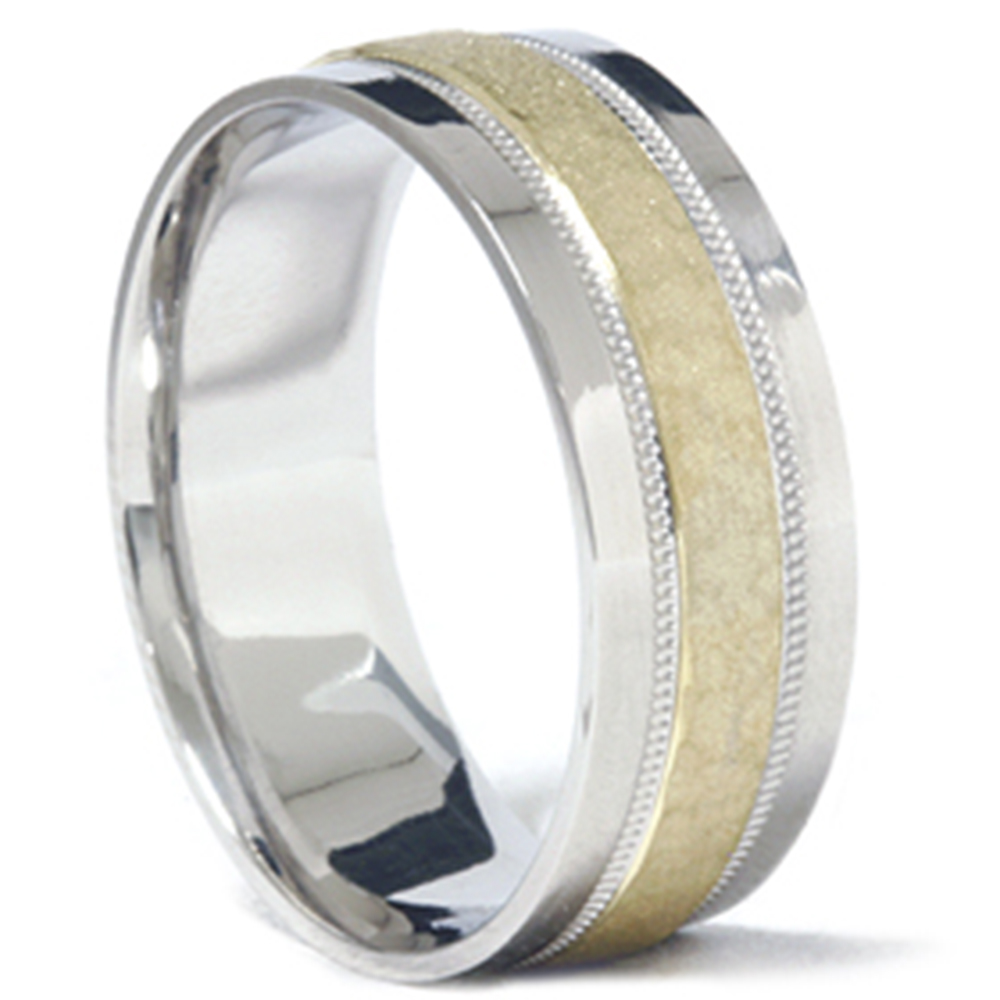 Mens 950 Platinum Amp 18K Gold Hammered Wedding Band Ring
