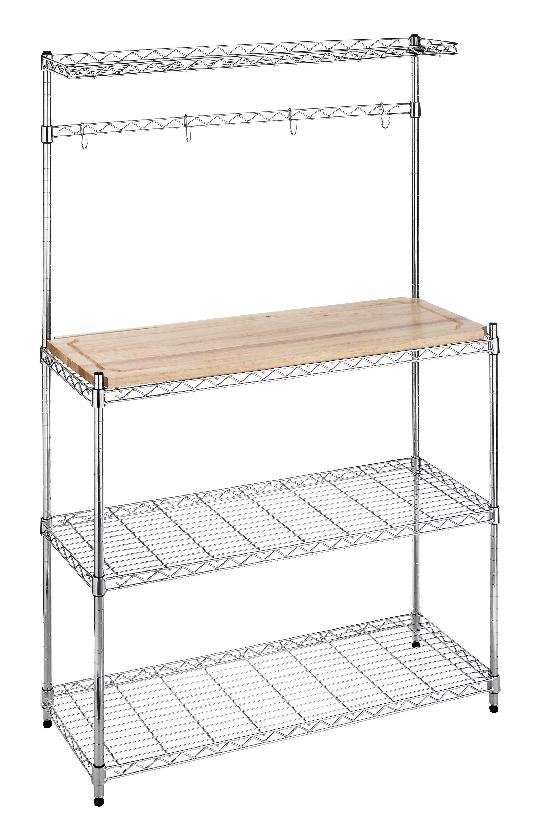 whitmor supreme bakers rack wood chrome