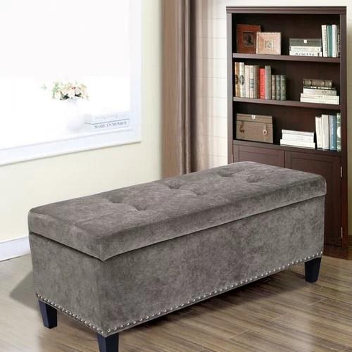 adeco light grey microfiber rectangular tufted storage bench ottoman