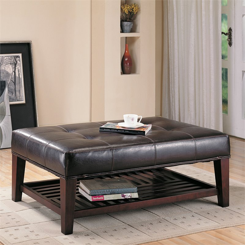 bowery hill faux leather coffee table ottoman in brown and cappuccino walmart com