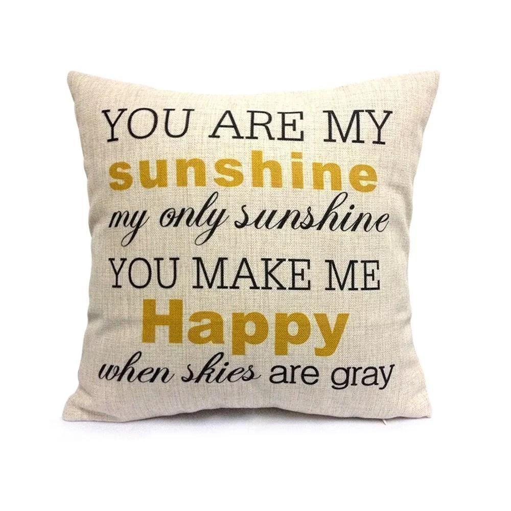 popeven you are my sunshine pillow cover cotton linen square decorative throw cushion cover 18 x 18 walmart com