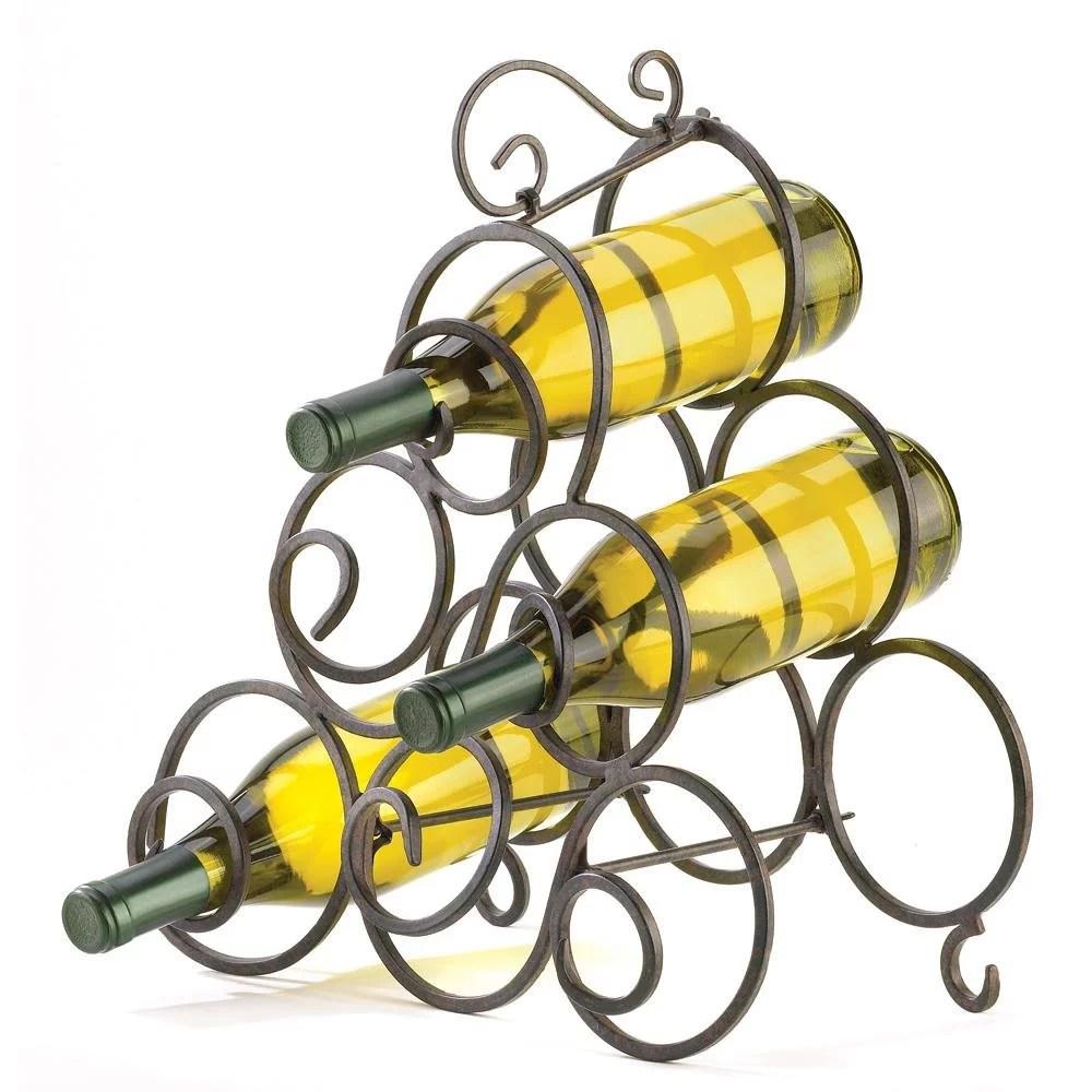 wrought iron wine rack scroll metal wine rack table bar for counter display walmart com