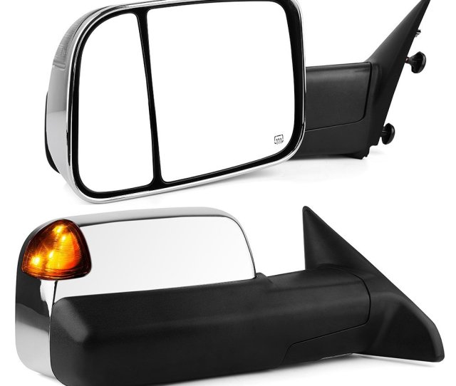 Chrome Towing Mirrors For 09 12 Dodge Ram Power Heated Signal Led Puddle Light Flip