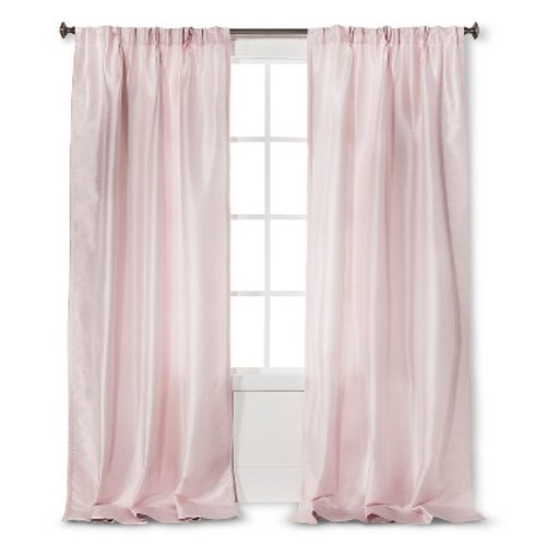 faux silk pleat curtain panel pink 54 x95 simply shabby chic
