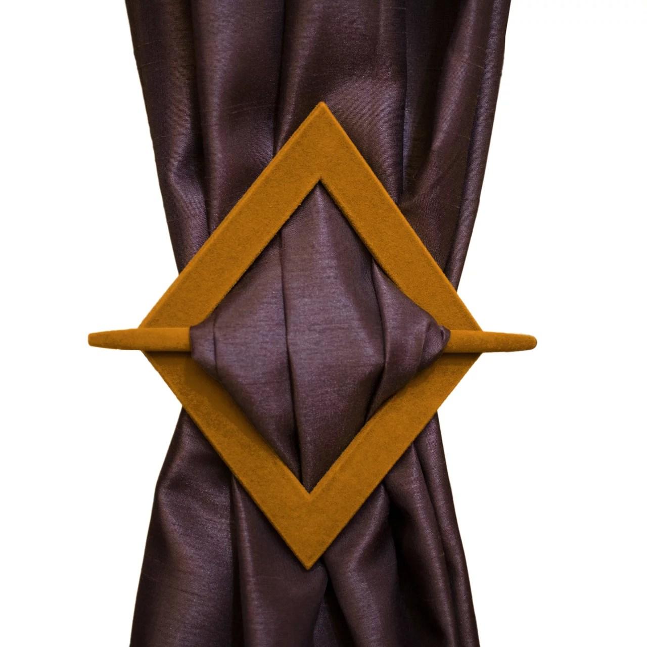 set of 2 luxurious diamond velvet flocked decorative curtain holdbacks tie backs gold