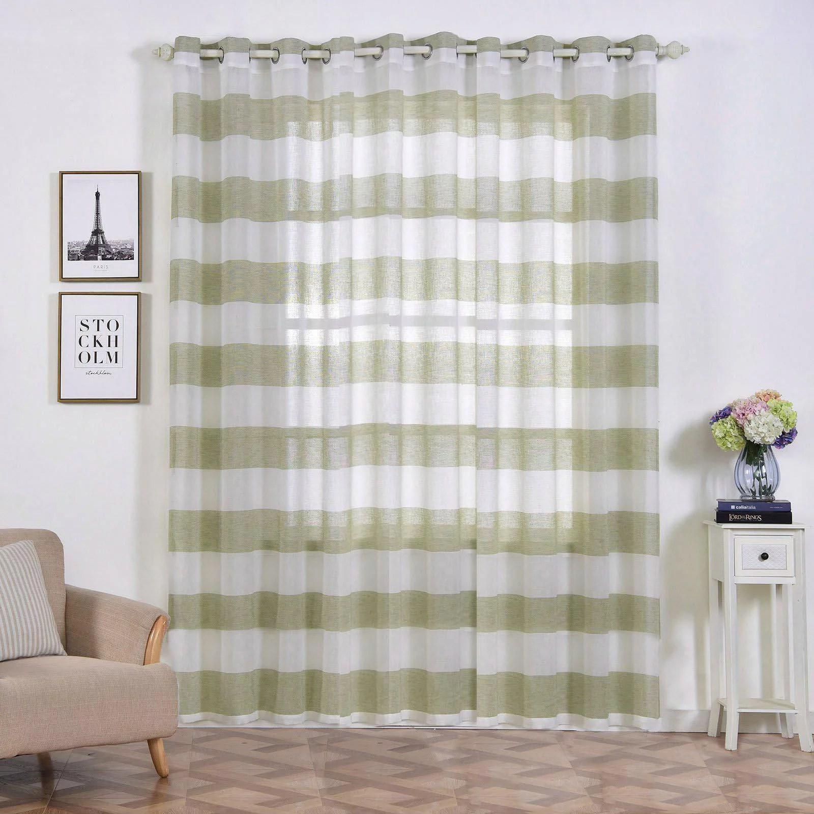 https www walmart com ip 2 pack 52 x 96 cabana print faux linen curtain panels with chrome grommet white sage green 991230198