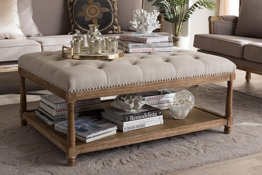 baxton studio carlotta oak beige linen coffee table ottoman walmart com