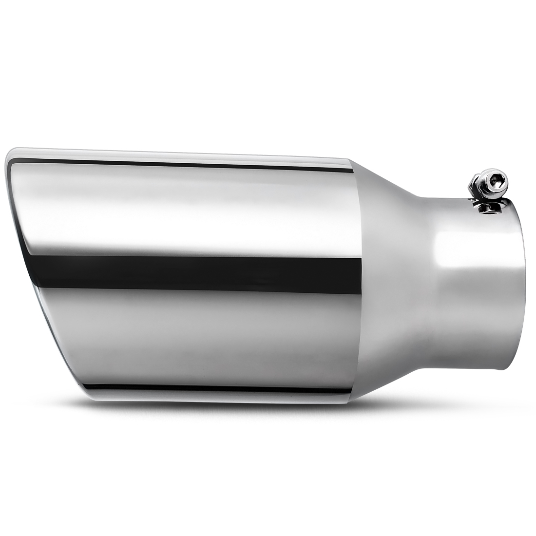 exhaust tip 4 inch inlet x 6 inch outlet x 12 inch long bolt on polished chrome stainless steel slant cut tailpipe