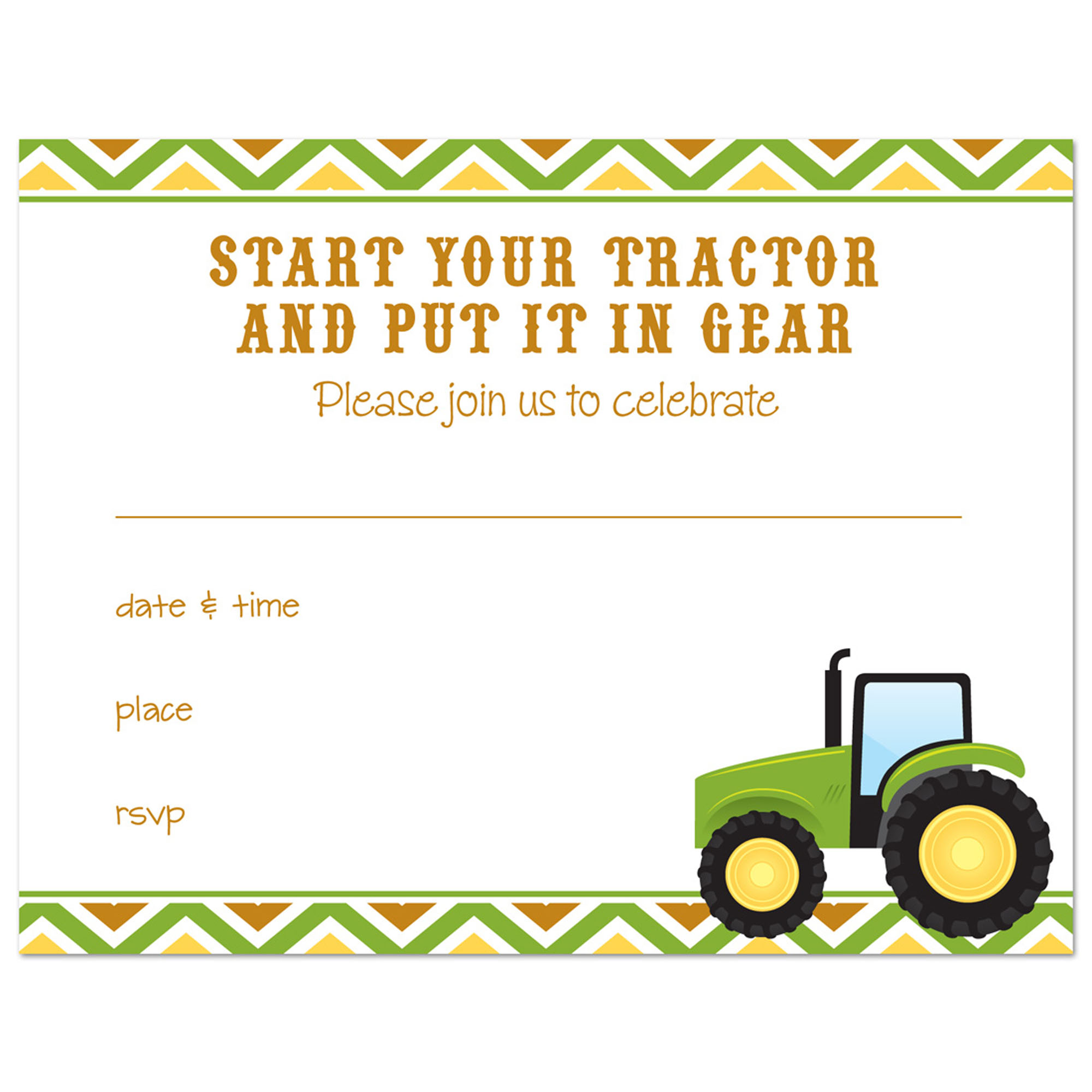 farm tractor fill in birthday invitations and envelopes 24 count