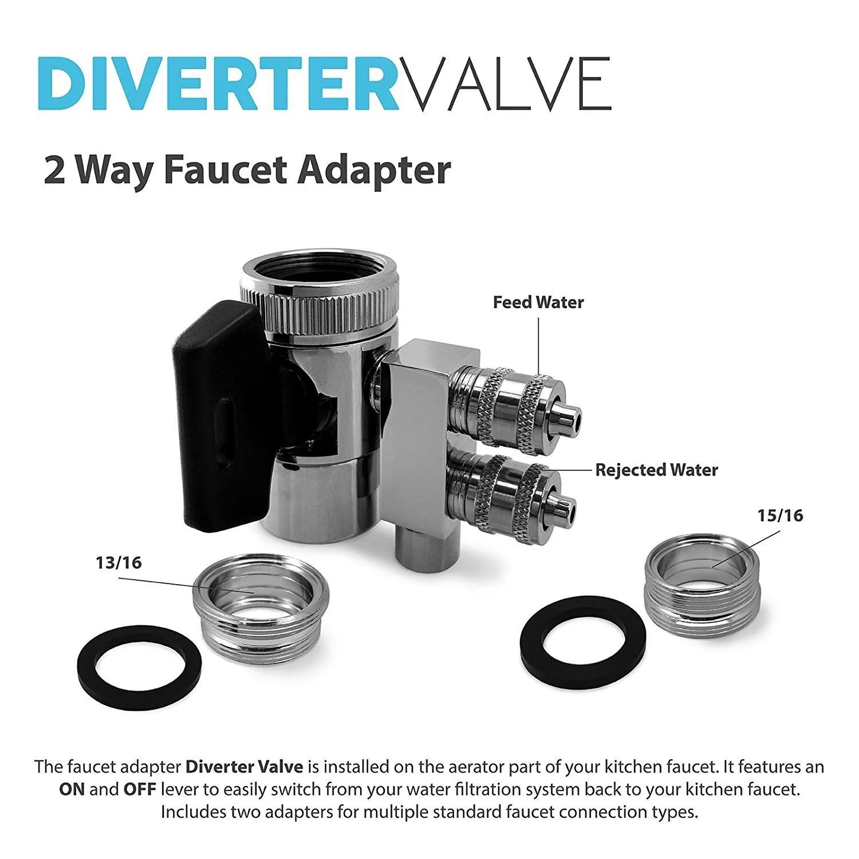 express water undersink chrome 2 way faucet adapter diverter valve counter top reverse osmosis ro water filter system prtdv2