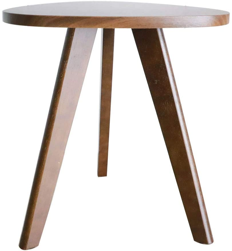 purzest end table pecan wood triangle side table mid century modern accent table for nightstand living room bedroom balcony small table