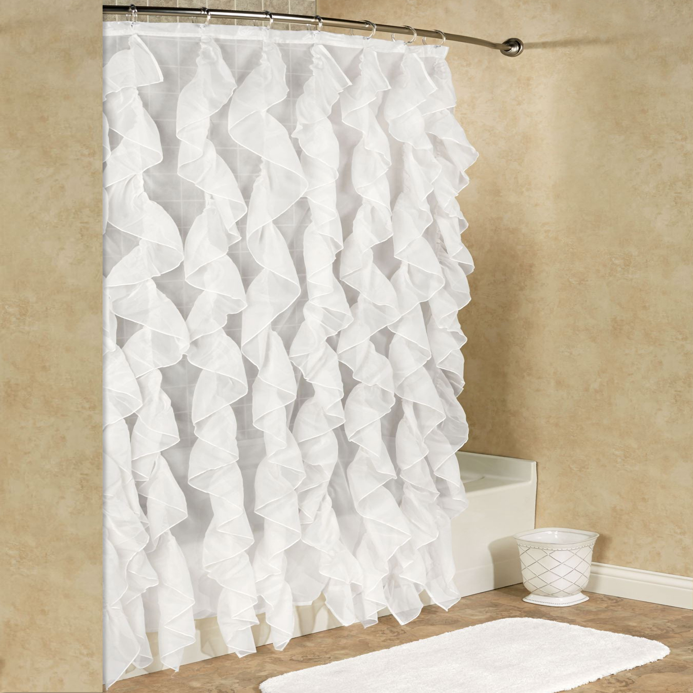 cascade chic sheer voile vertical waterfall ruffled shower curtain 70 x 72