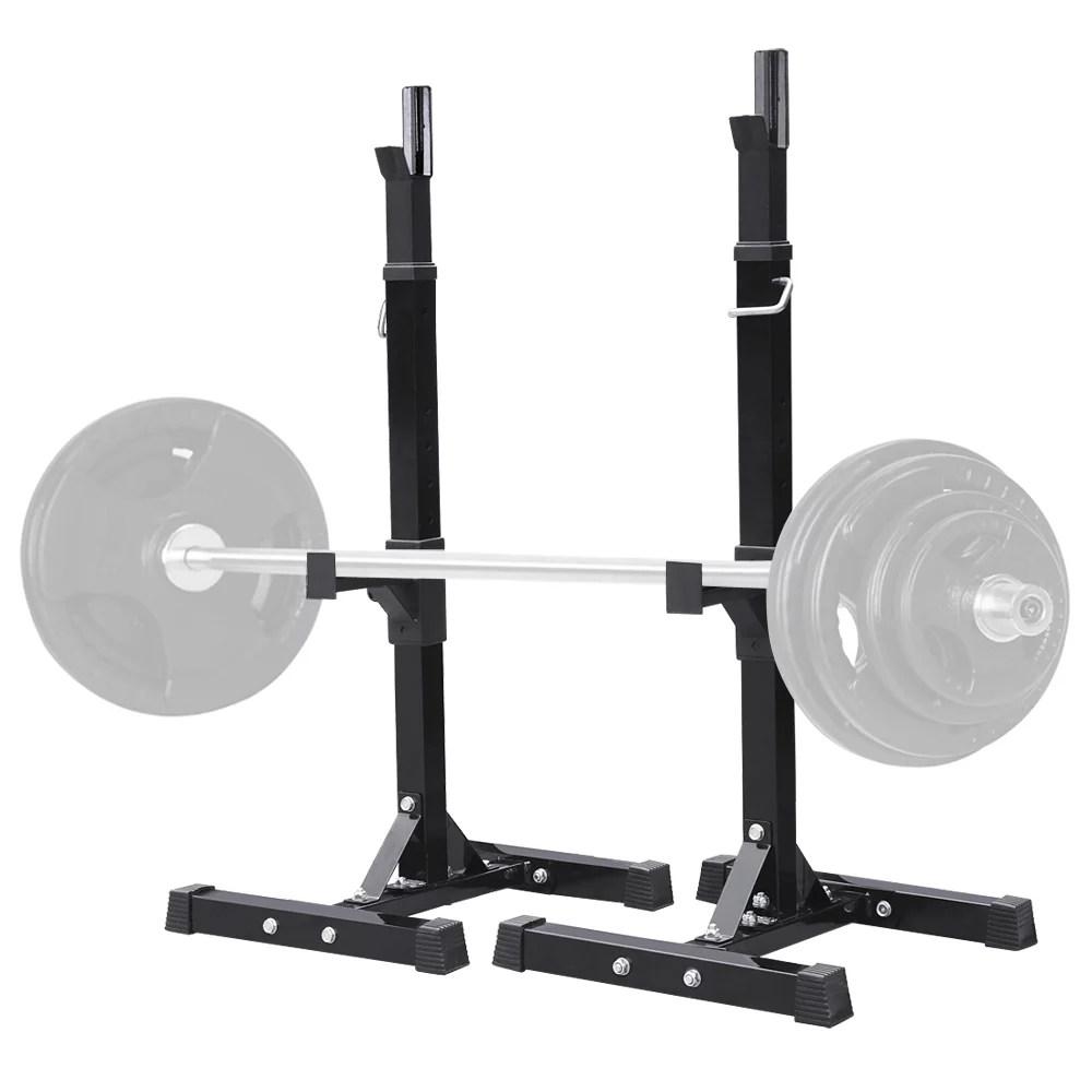 smilemart standard adjustable portable power weight rack black