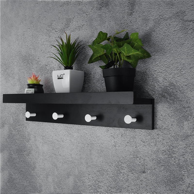 metal wall mounted coat rack shelf black white wooden style 9 19 entryway shelf with 2 4 hooks perfect touch for your entryway mudroom