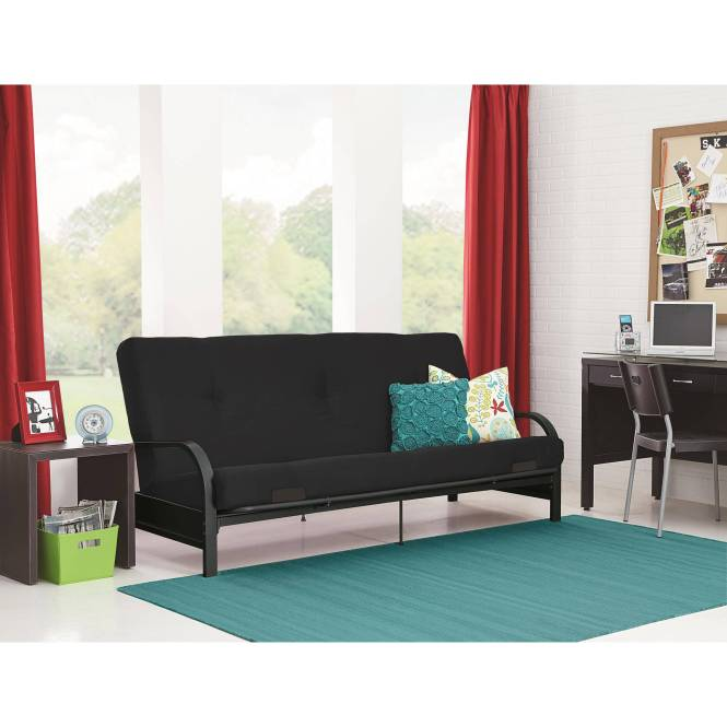 Mainstays Black Metal Arm Futon With Full Size Mattress Multiple Colors Parsons End Table Bundle