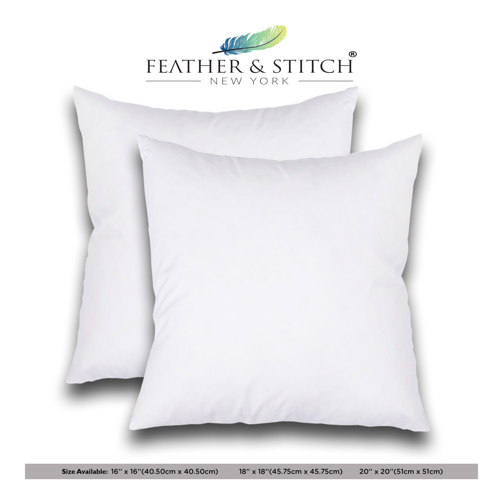set of 2 decorative pillow inserts square pillow 16x16 inches sofa and bed pillow inserts throw pillow insert white
