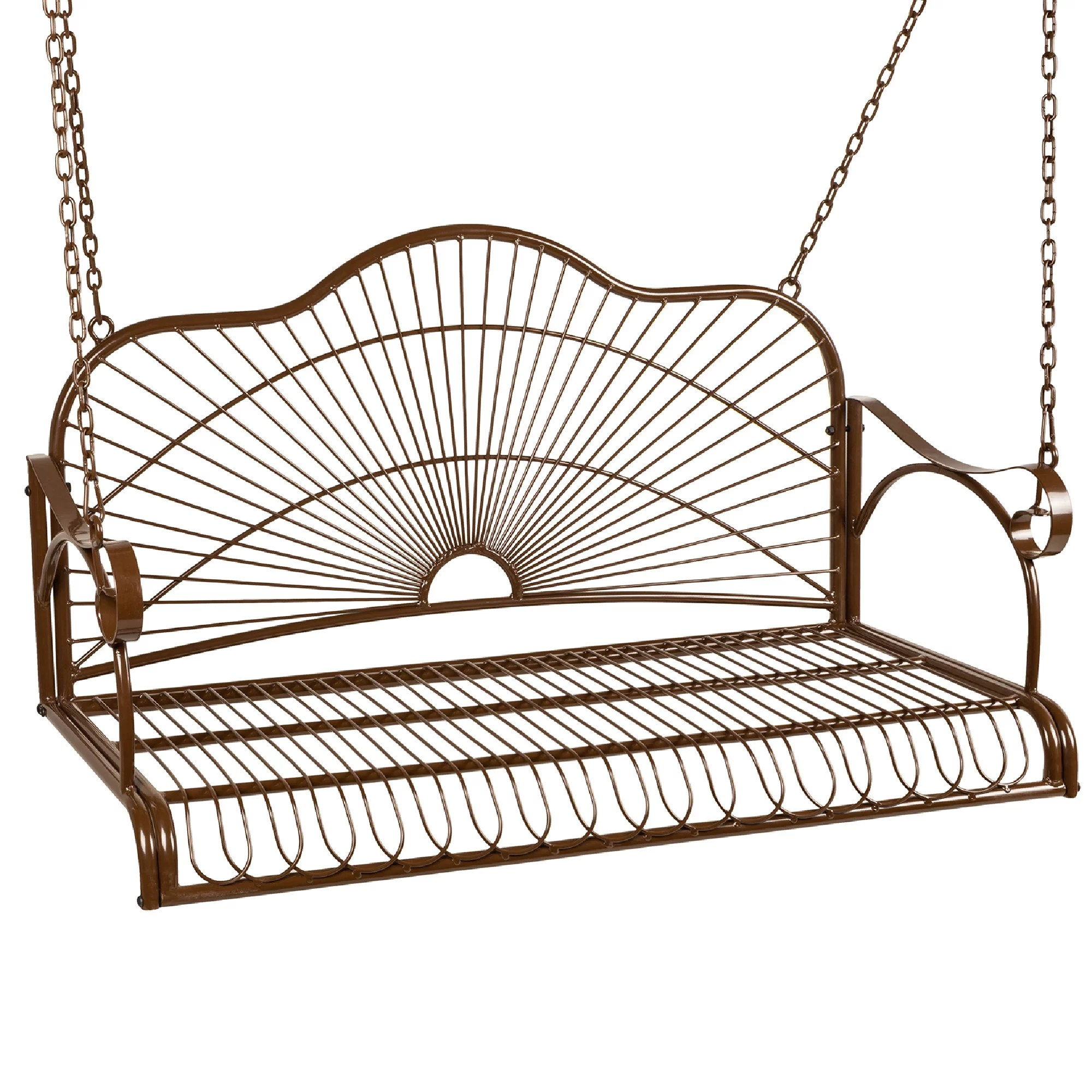 best choice products hanging iron porch swing outdoor patio furniture chair w armrests mounting chains walmart com