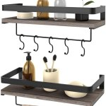 Floating Shelves Wall Mounted 2 Set Bathroom Shelf With Rail Towel Bar And 5 Hooks Decorative Storage Shelves For Kitchen Bathroom Living Room Bedroom Rustic Pine Wood 16 5inch Walmart Canada