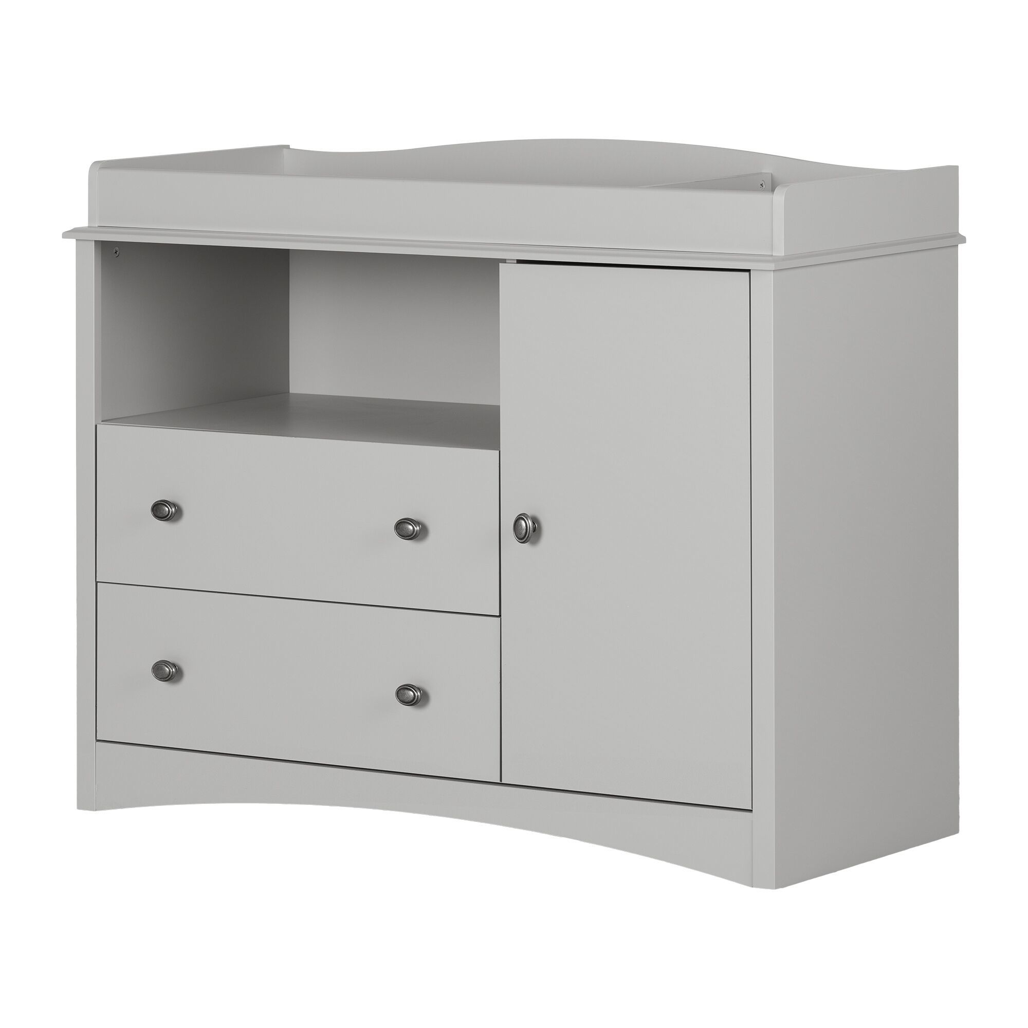 south shore peek a boo changing table dresser with 2 drawers soft gray