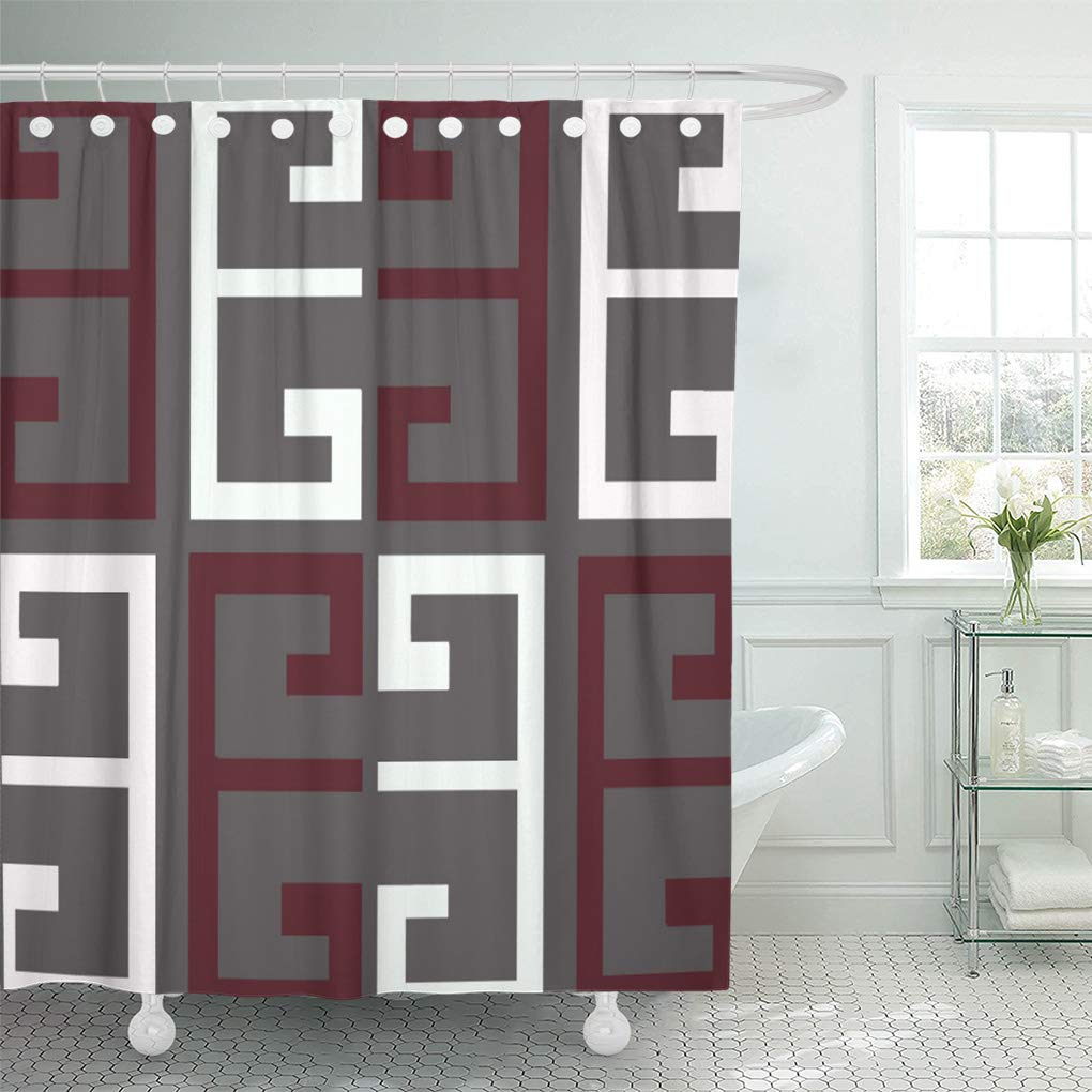 atabie red dark gray maroon and white colored aztec french shower curtain 66x72 inch walmart com