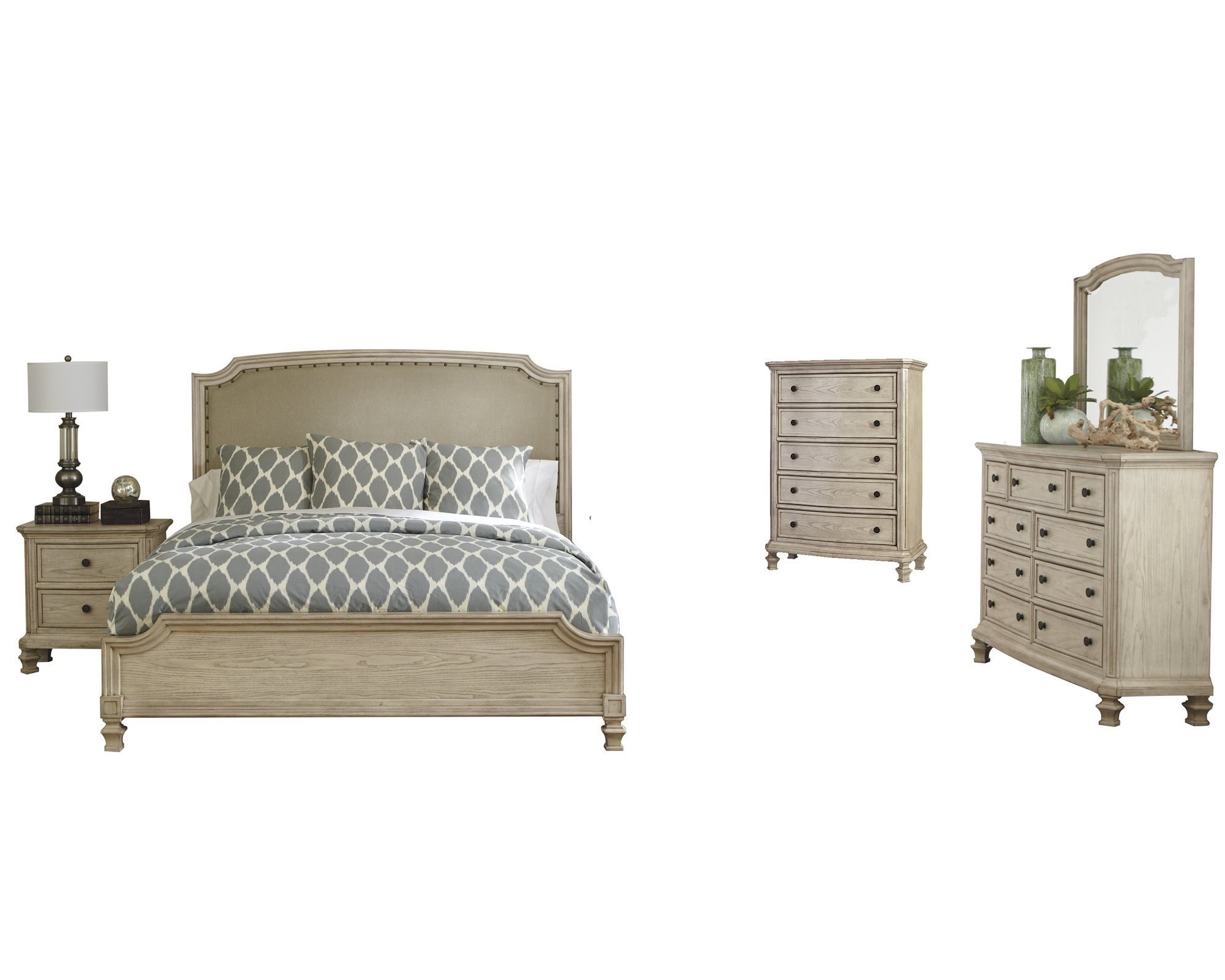 ashley furniture demarlos 5 pc bedroom set queen upholstered bed 1 nightstand dresser mirror chest parchment white