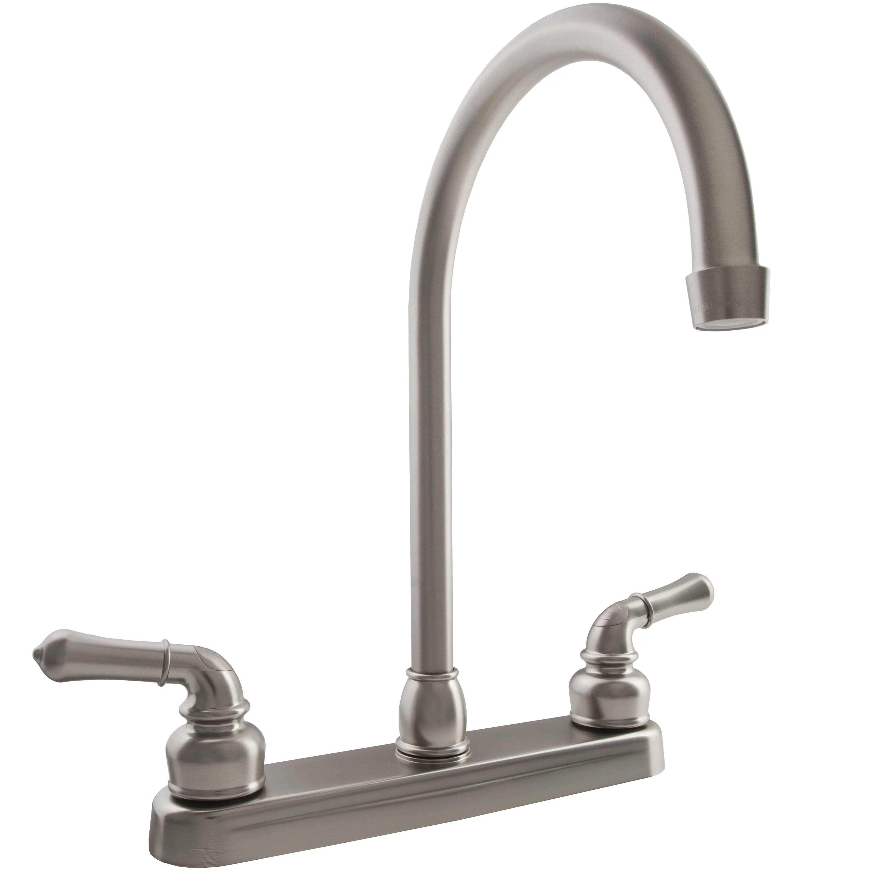 dura faucet j spout rv kitchen faucet brushed satin nickel