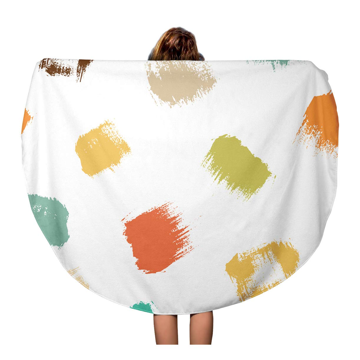 Kdagr 60 Inch Round Beach Towel Blanket Drawn Dry Brush