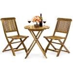 Best Choice Products Acacia Wood 3 Piece Folding Outdoor Bistro Set Brown Walmart Com Walmart Com