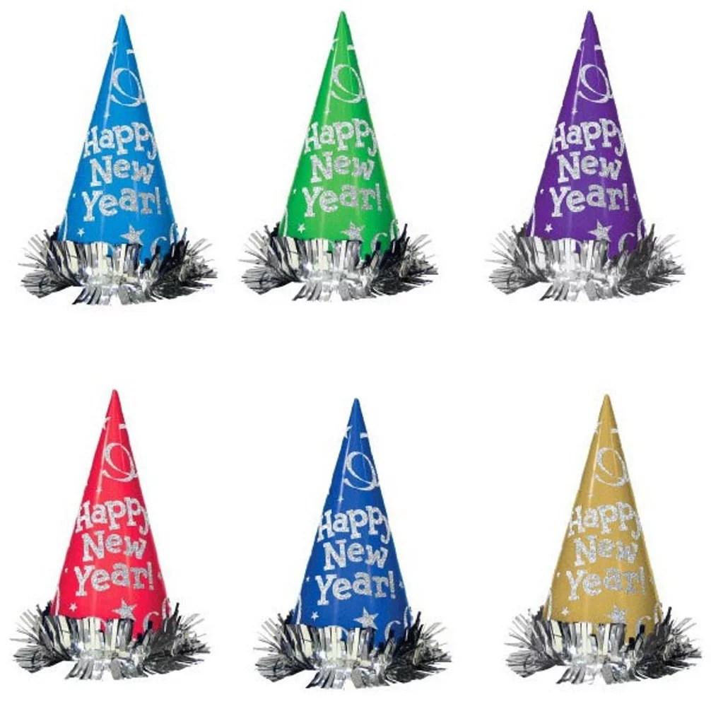 "12 MultiColor 9"" Foil Cone Hats Tinsel Metallic Party New ..."