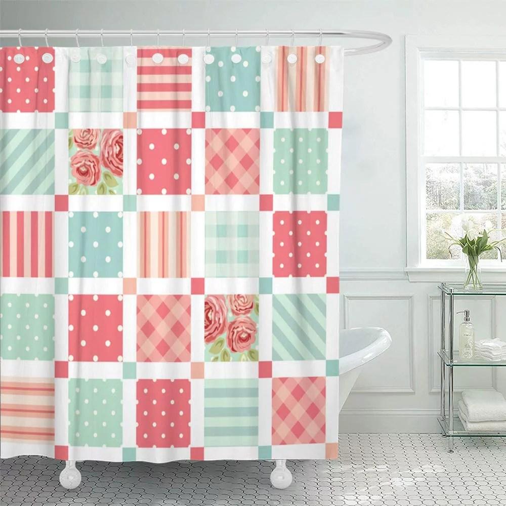 pknmt pink quilt cute vintage as patchwork in shabby chic fabrics curtains carpets scrap shower curtain bath curtain 66x72 inch walmart com