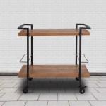 Castleberry Flash Furniture Rustic Wood Grain Kitchen Bar Cart With Two Storage Compartment Racks Walmart Com Walmart Com