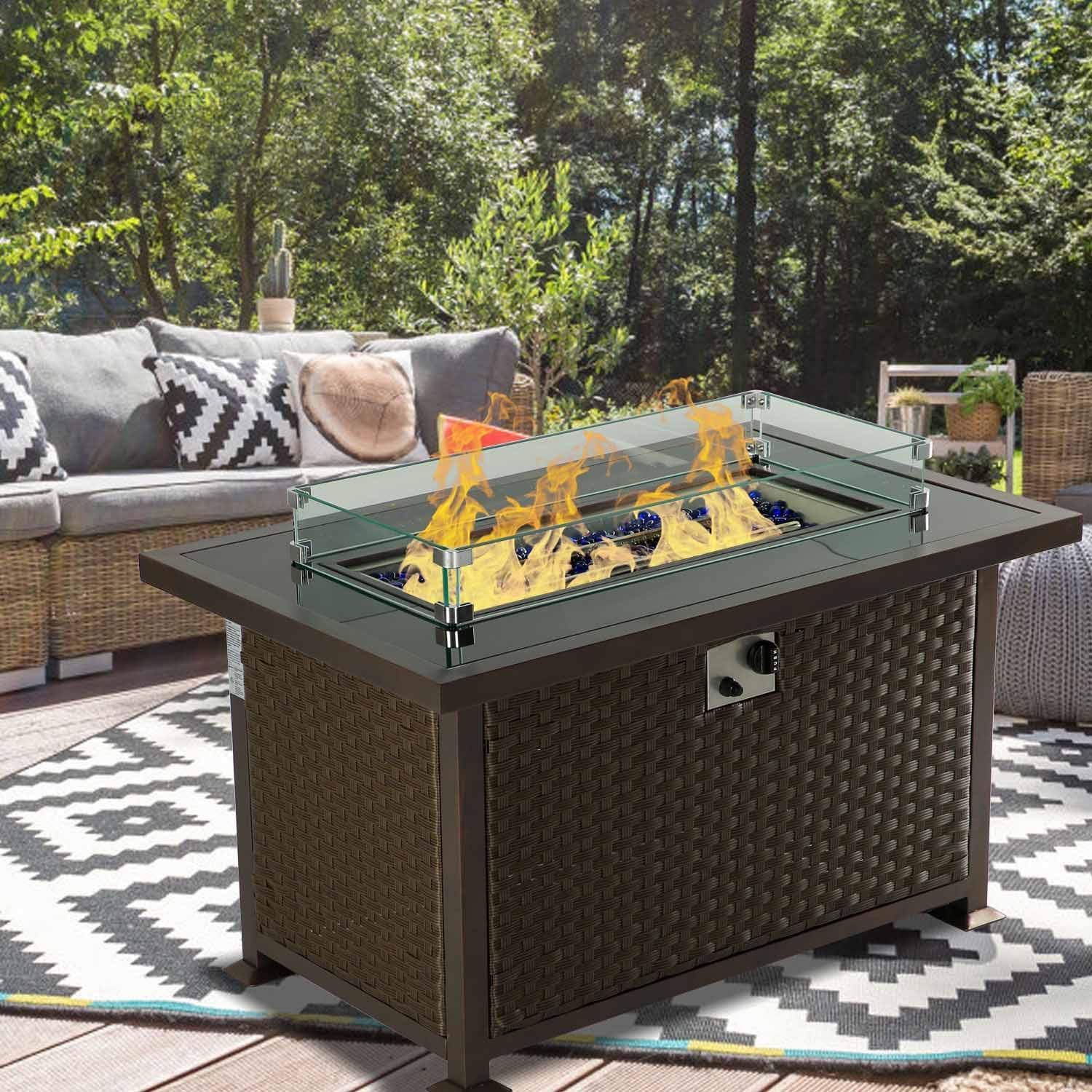 erommy 44 inch outdoor propane fire pit table 50 000 btu gas fire pit table wicker pe rattan with glass wind guard clear glass rocks cover brown