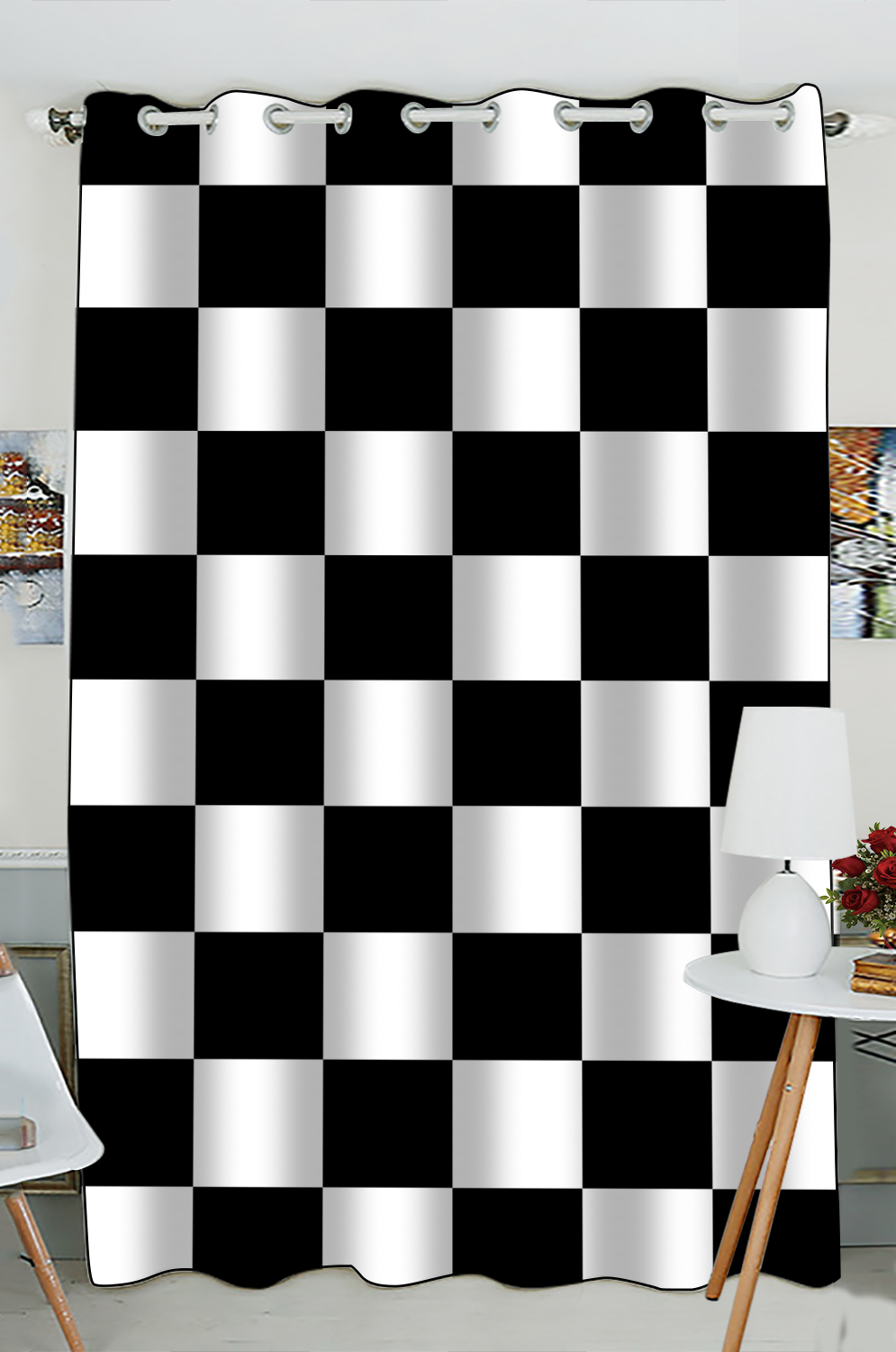 GCKG Checkered Window CurtainBlack White Checkered Pattern Grommet Blackout Curtain Room
