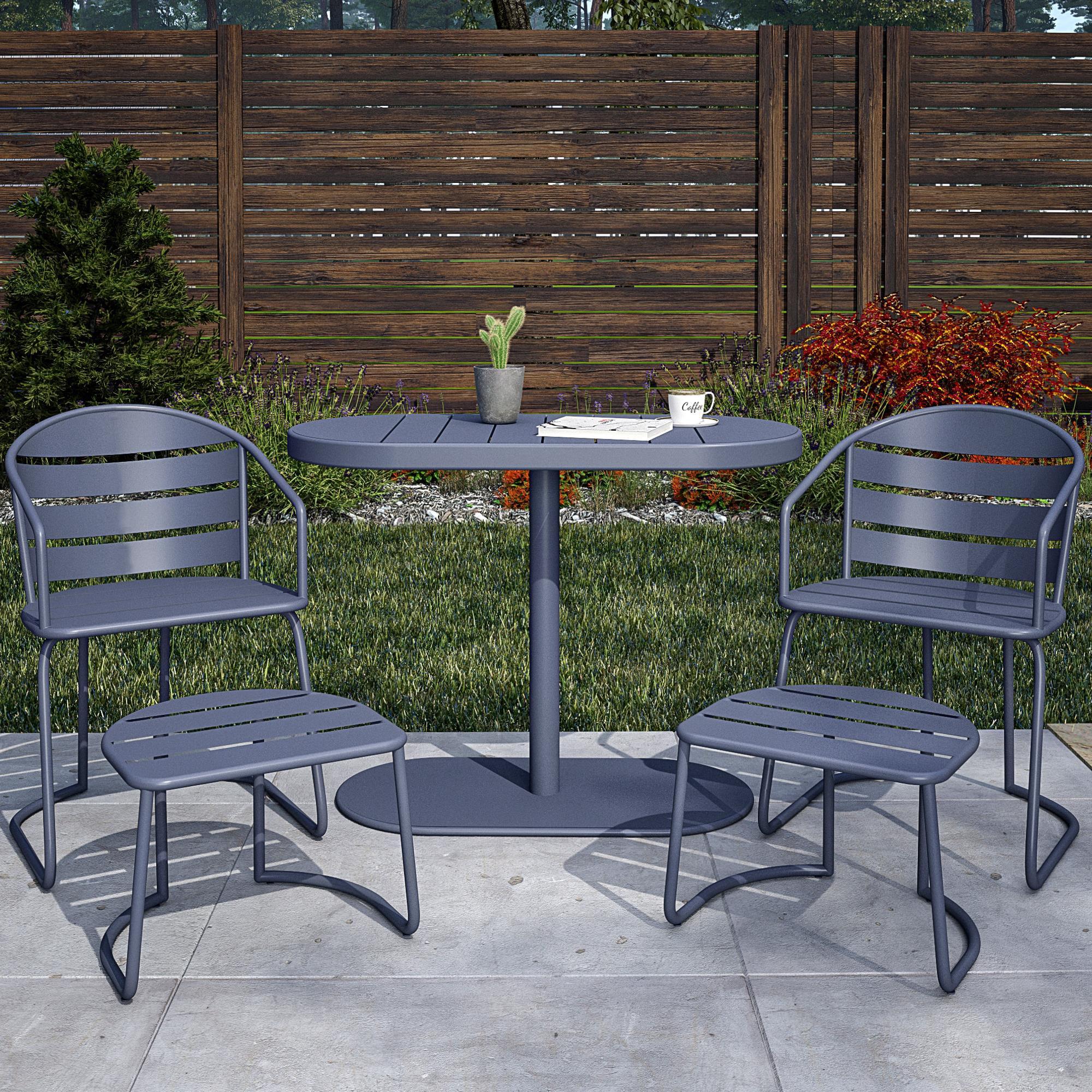 cosco outdoor furniture 5 piece patio bistro set 2 bistro chairs 2 ottomans bistro table steel gray gray