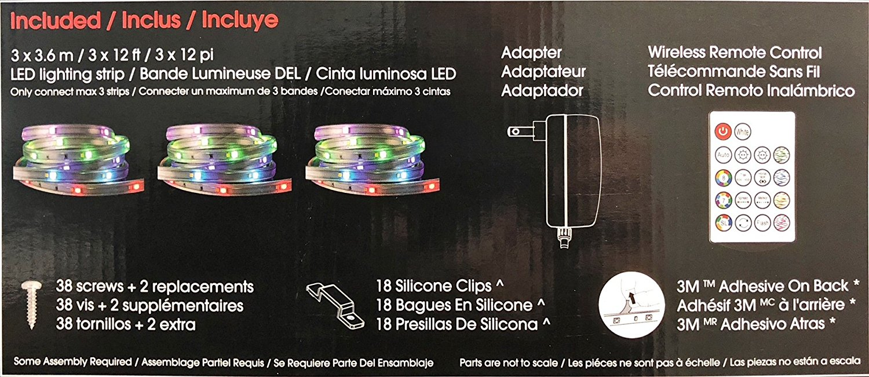 intertek led lighting strip w wireless remote control 36ft linkable 16 colors