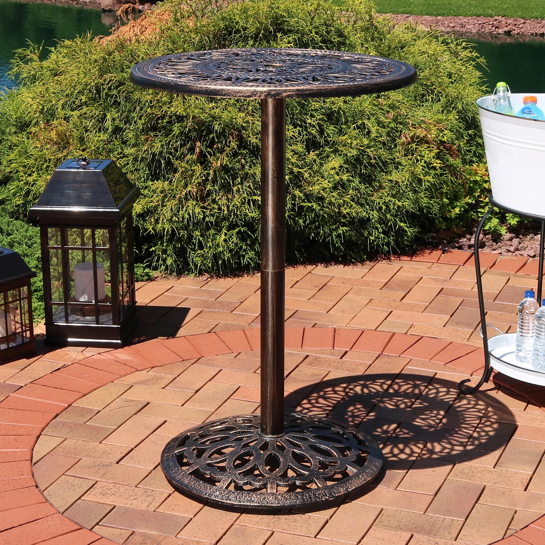 outdoor patio bar height tables Sunnydaze Bar Height Patio Table, Outdoor Round High Top