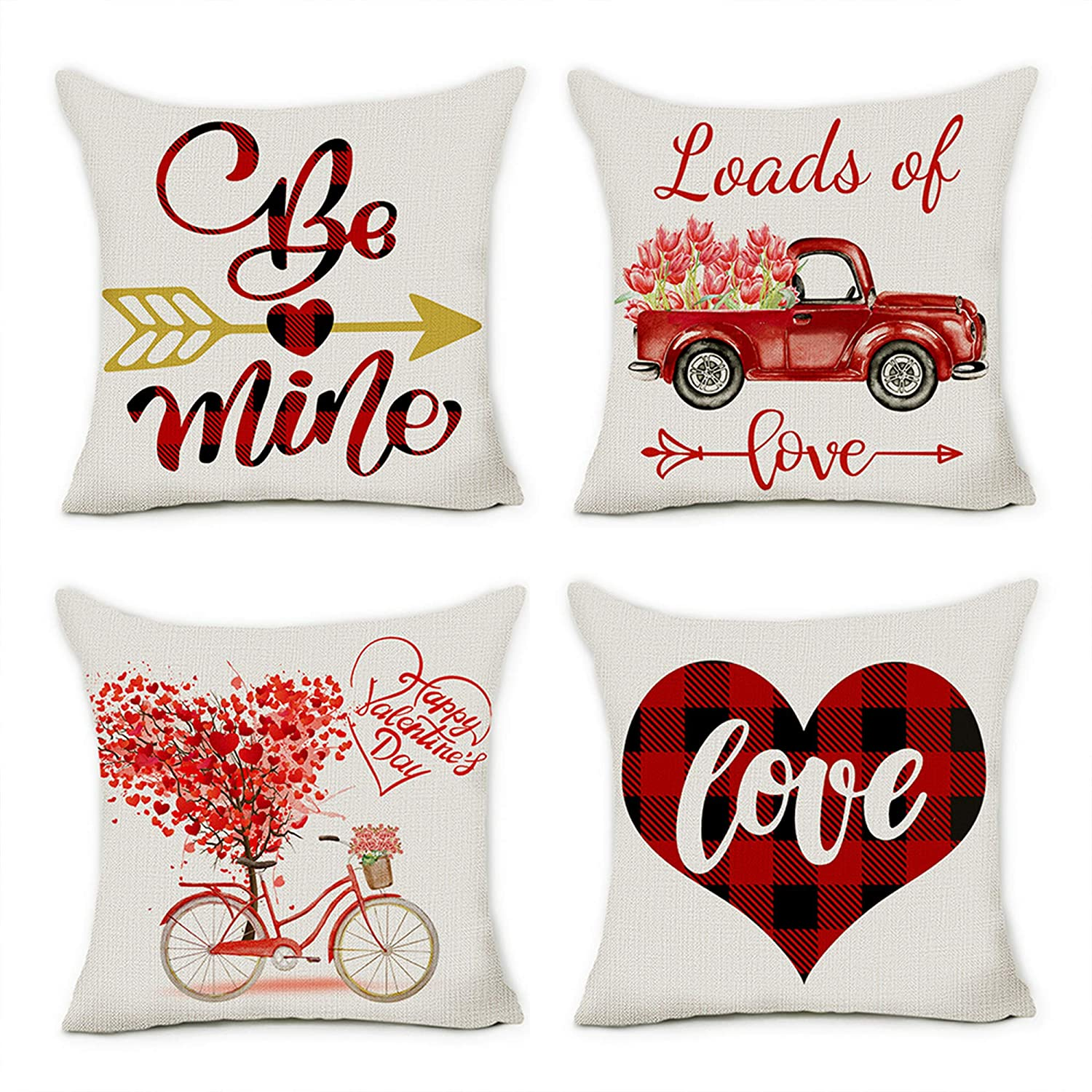 coolmade valentine pillow covers valentines day decorations throw pillows cases 18x18 inche 4pack walmart com