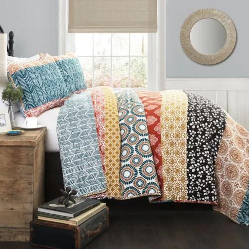 bohemian global stripe reversible 3 piece king quilt sham bedding set set by lush decor