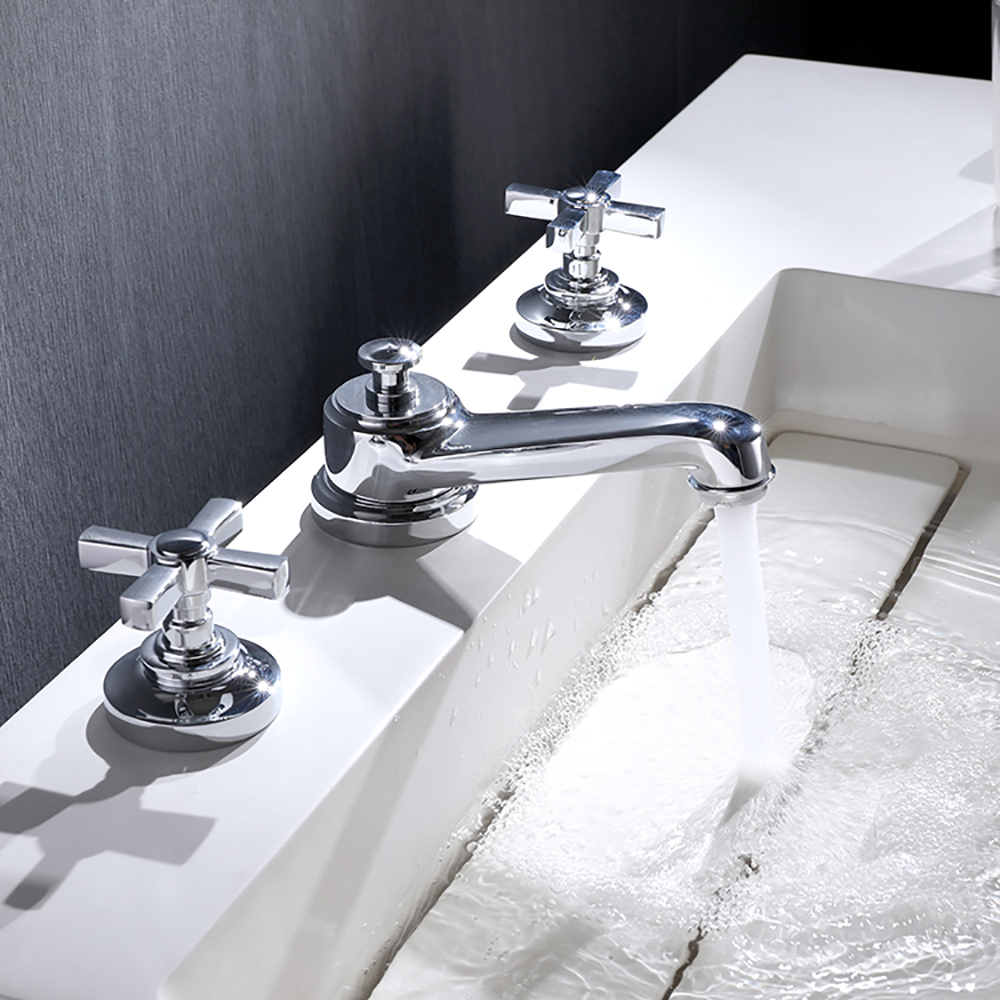 hommoo widespread 2 handle bathroom sink faucet 3 holes sink faucet lavatory faucet with double cross handles