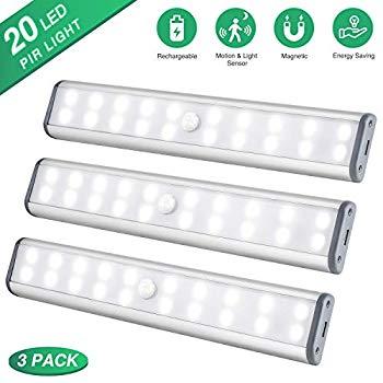 under cabinet lighting closet light 20 leds 3 packs wireless rechargeable cabinet lights magnetic under counter lighting led motion sensor night