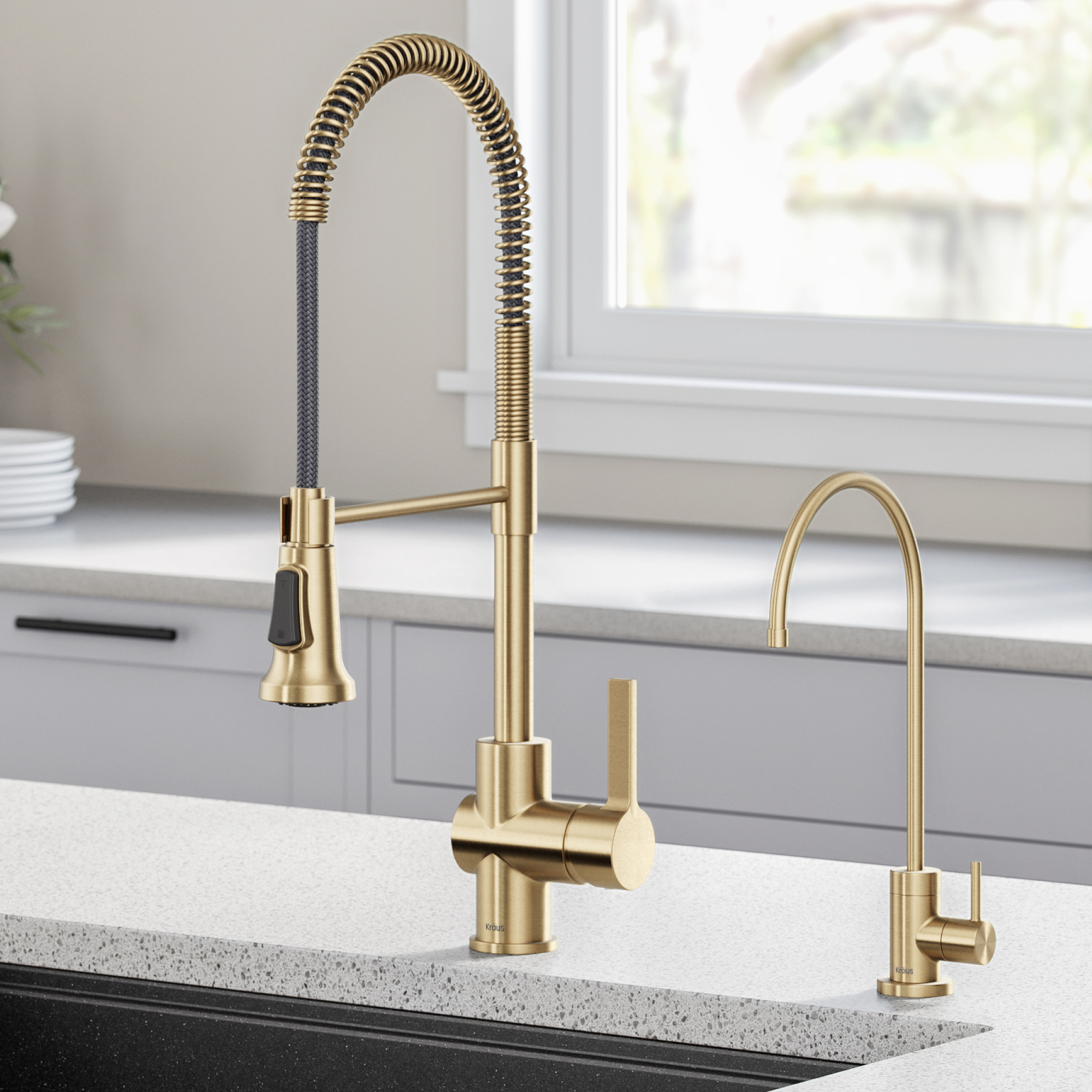 kraus britt commercial style kitchen faucet and purita water filter faucet combo in brushed gold