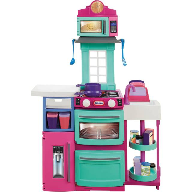 little tikes cook 'n store kitchen, pink with 32-piece accessory set
