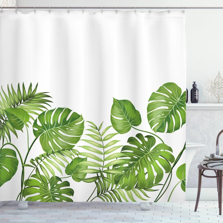 leaf shower curtain nature jungle forest rainforest inspired leaves plant foliage swirls botanic image fabric bathroom set with hooks 69w x 70l