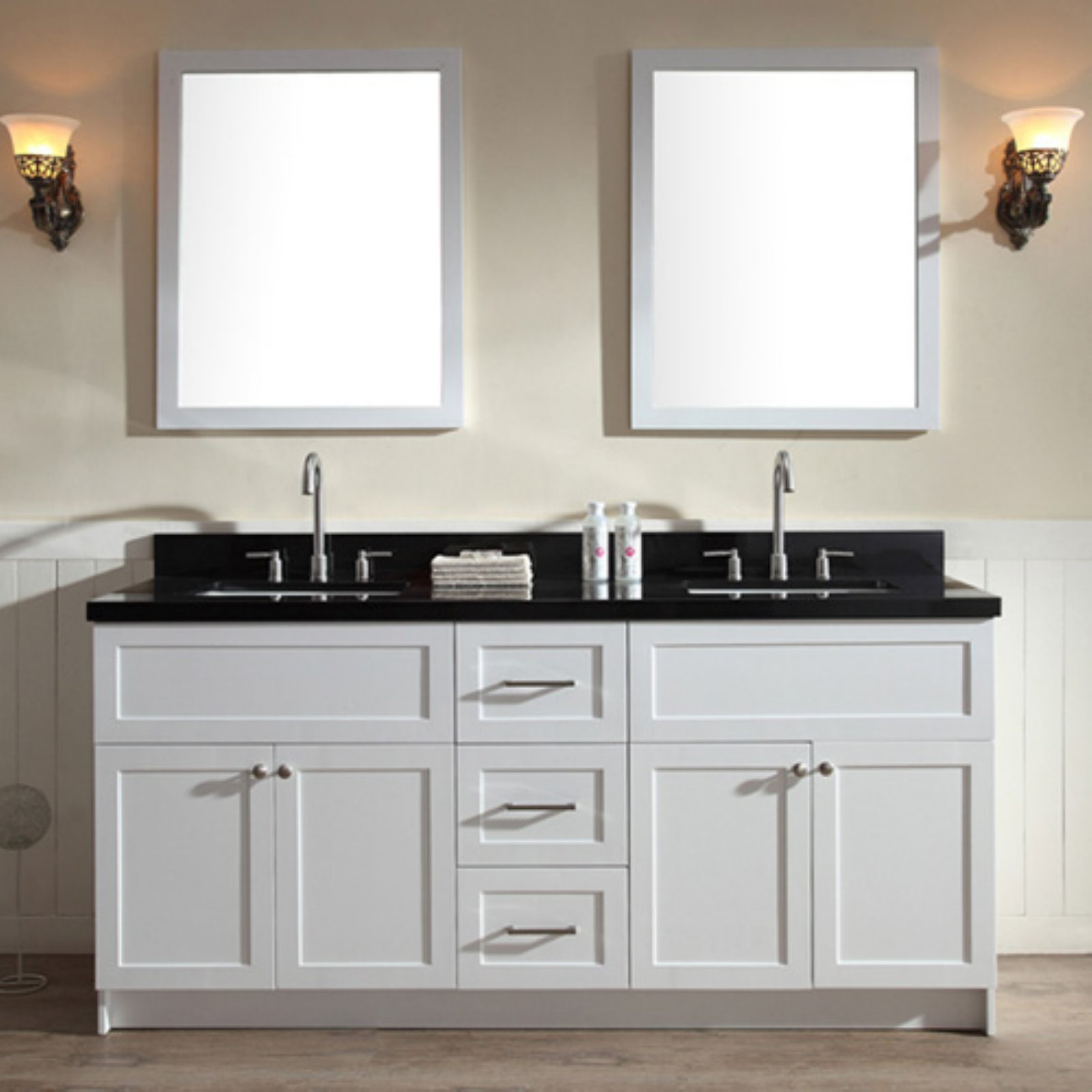ariel hamlet 73 in bath vanity in white with granite vanity top in absolute black with white basins and mirrors